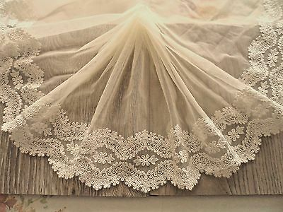 1Y~8'~ Pale~Yellow Lace Trim Venise Embroidered Floral Scallpped Wedding