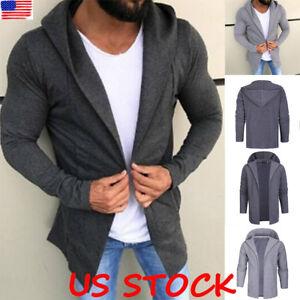 Men-Hooded-Cardigan-Hoodie-Jacket-Long-Sleeve-Casual-Slim-Jumper-Outwear-Coat-US