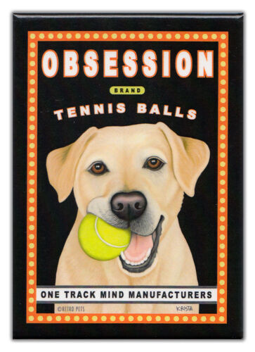 YELLOW LABTENNIS BALLSVintage Advertising Retro Dogs Refrigerator Magnets