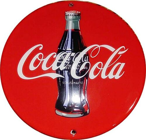 Coca Cola bottle vitreous enamel round steel badge   130mm diameter jj