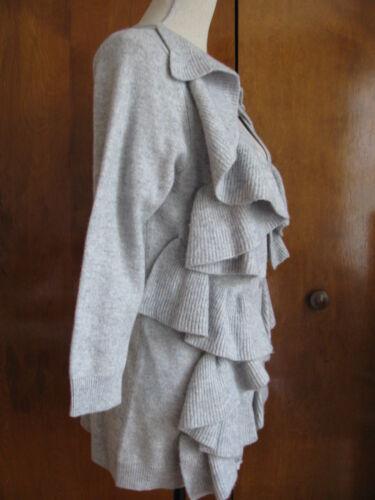 Knap Kvinder Grå Cardigan Nwt Studio Sutton uld Large Cashmere Ruffle wAaCHnxqP
