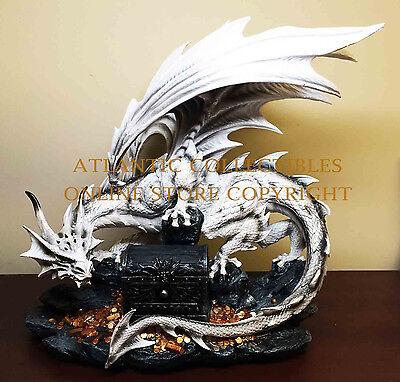 Large Great White Dragon Guarding Druid Treasure Box Figurine and Utility Box