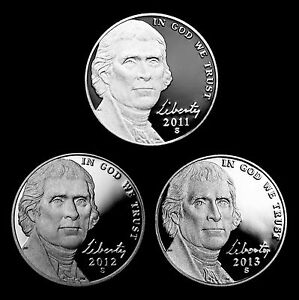 2011-2012-2013-S-Jefferson-Proof-Nickels-U-S-Mint-Proof-Set-of-Three