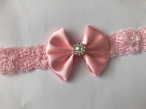 d1cf36ea588a1 Satin Bow 7cm Pearl Lace Band Newborn Toddler Baby Headbands ...