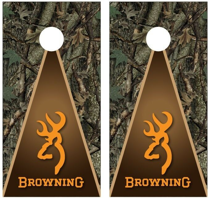 Browning Deer Camo Hunting Cornhole Board Decal Wrap Wraps (orange)