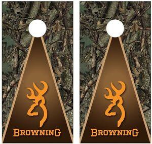 Browning Deer Camo Hunting Cornhole Board Decal Wrap Wraps (orange)