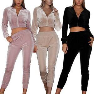 bestbewertet billig jetzt kaufen außergewöhnliche Auswahl an Stilen und Farben Details zu 2 Teilige Set Damen Samt Sweatshirt Hose Velvet Trainingsanzug  Hausanzug Sport