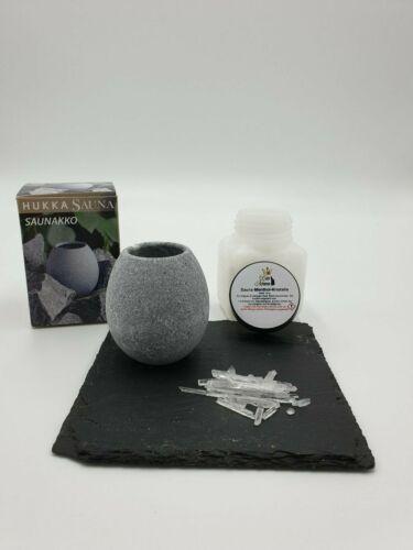 Das exklusive Set Menthol Kristalle 50g plus Duftei /'Saunakko/' aus Speckstein