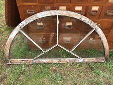 c1900 half round window w/ unique half diamond mullion detail wavy glass 52 x 26