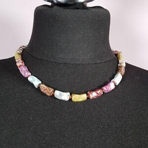 VINTAGE-70s-Polished-Stone-Necklace-Rectangular-Beads-Multi-Coloured-Boho-Retro