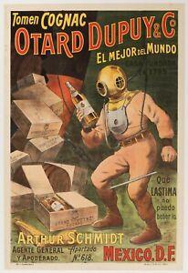 Original-Vintage-Poster-Tomen-Cognac-Otard-Dupuy-amp-Co-Deep-Sea-Diver-1910