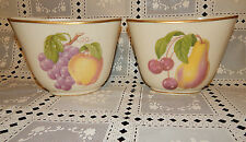 PAIR VINTAGE ROCHELLE FINE CHINA BOWL/VASES~HANDPAINTED FRUITS~GOLD TRIM~SIGNED