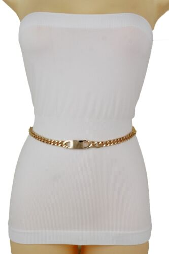 Women Gold Metal Chain Skinny Classy Charm Plate Buckle Belt Plus Size XL XXL
