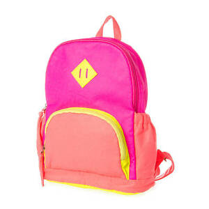 Claire's Backpack Neon Pink Yellow Orange Bookbag Back to School ...
