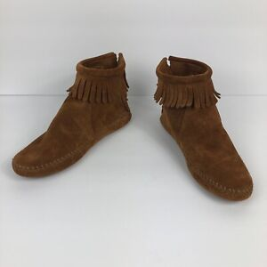 Minnetonka 182 Brown Suede Leather Back