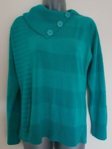 Size-16-Jumper-BHS-Jade-Green-Striped-Excellent-Condition-Women-039-s-Ladies