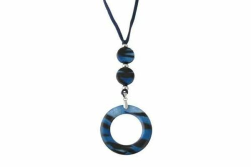 VIP Authentic Eyeglass Necklace by Calabria in Blue Crystal Black Striped Marble
