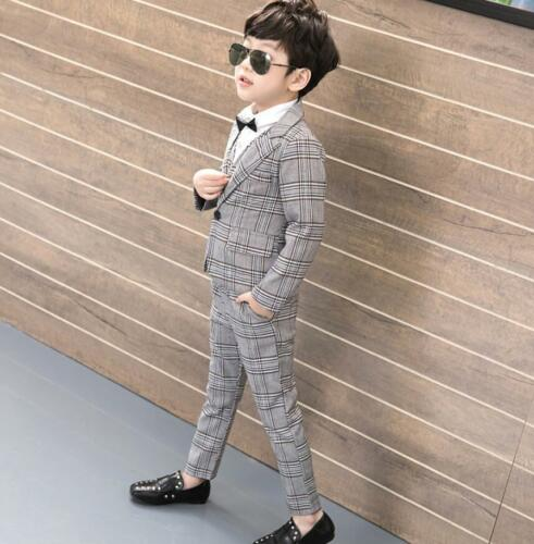 Kids Toddlers Boys Check Plaid Blazer Suit Wedding Casual Party Prom Suit 3Pcs