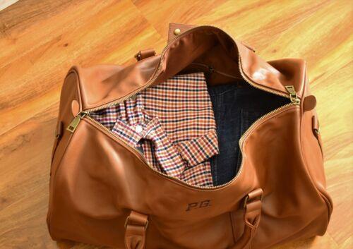 PERSONALISED Brown Travel  Gym luggage gift Holdall weekend duffle bag