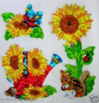 VINTAGE Sandylion Glittery SUN FLOWERS Scrapbooking Stickers*FAST SHIPPING* H11