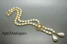 Vintage Miriam Haskell baroque faux pearl glass flower double drop necklace