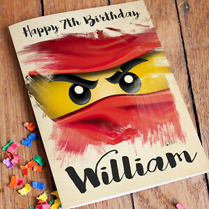 Image Is Loading NINJAGO LEGO Personalised Birthday Card FREE Shipping Son