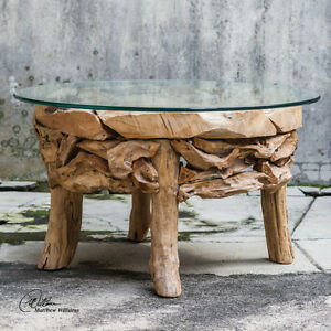 Reclaimed Teak Root Round Coffee Cocktail Table Glass Top ...