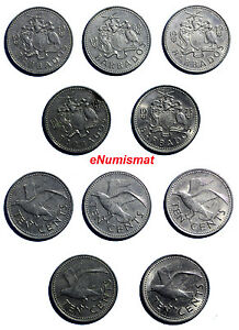 BARBADOS-Copper-Nickel-LOT-OF-5-COINS-1973-1980-10-CENTS-KM-12