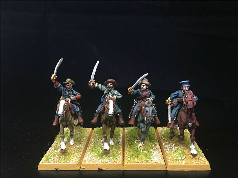 28mm Amerian Civil War DPS Painted ACW Confederate Cavalry with Swords GH1194