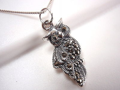 Owl Marcasite Necklace 925 Sterling Silver Corona Sun Jewelry wise night eyes