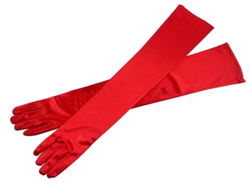 """Satin RED EXTRA LONG FINGERED PARTY PROM BRIDAL WEDDING OPERA GLOVE,21.5/""""L"""