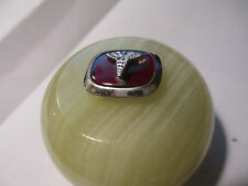 CADUCEUS INSIGNIA  ON RUBY  PIN on Wine Bottle Stopper Onyx Knob/Satin Gift