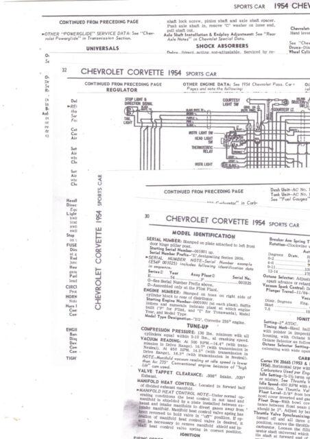 1954 Chevrolet Corvette Sports Car 54 Specification Wiring