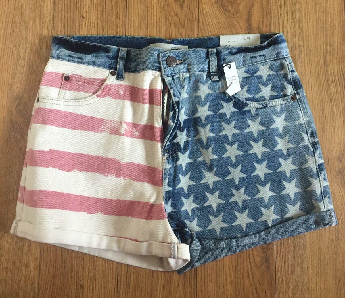 Topshop Moto American Flag Jean Hotpants