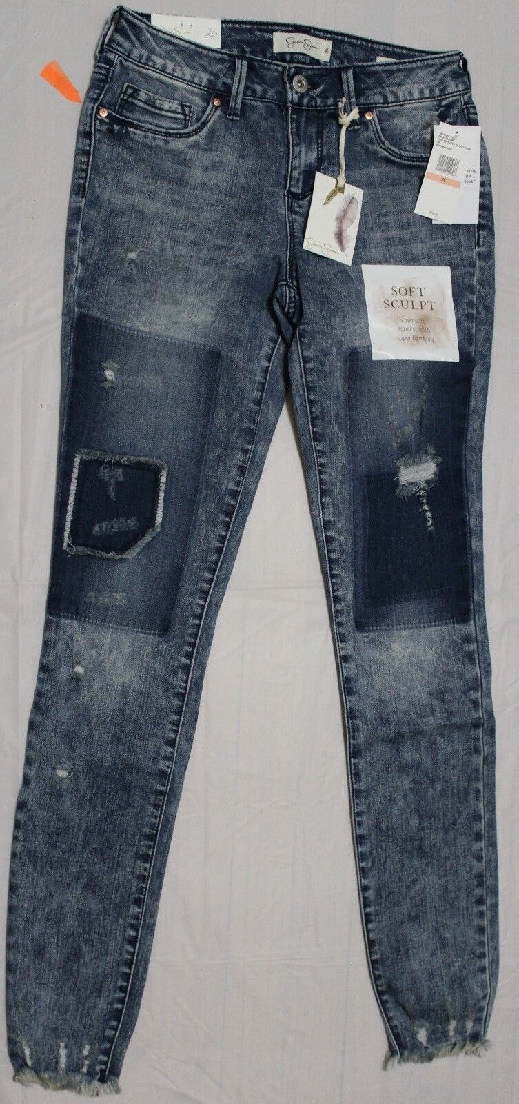 80 JESSICA SIMPSON FREE FALLIN KISS ME PATCHED SUPER SKINNY JEANS