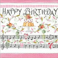 5 Serviettes papier Cocktail Anniversaire Decoupage Paper Napkins Birthday song