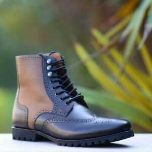 Handmade-Dress-Boot-Men-Wingtip-Oxford-Shoes-Two-Tone-Black-Brown-Calf-Leather