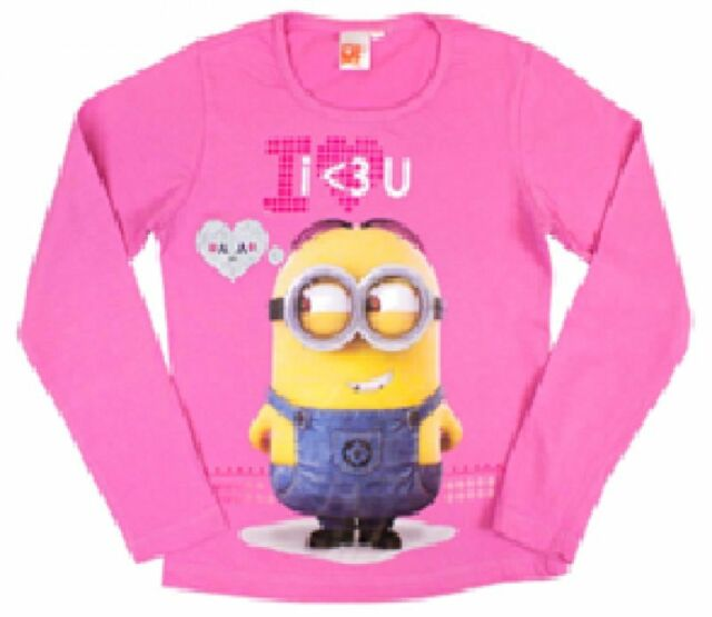 43804abb6b32 Girls Minions Long Sleeve T Shirt Summer Pink Grey Tops Ages 4 Years ...