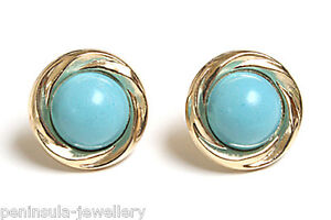 9ct-Gold-Turquoise-Studs-Round-earrings-Gift-Boxed-Made-in-UK-Christmas-Gift