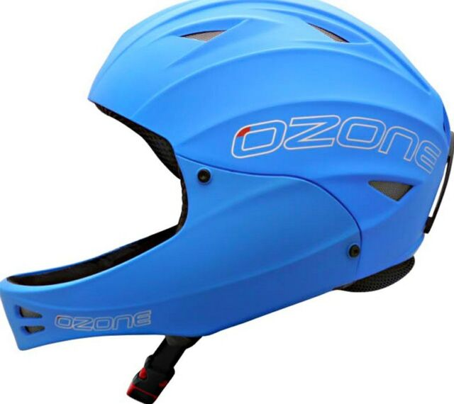 Ozone Nutshell Helmet Blue with Chin Guard for Paragliding, Hang Gliding Size XL