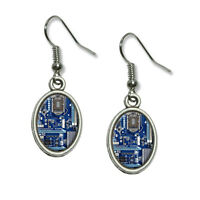 Blue Computer Motherboard - Processor Cpu Memory - Dangling Drop Oval Earrings