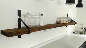Dettagli su Mensola da cucina stile country in legno e ferro