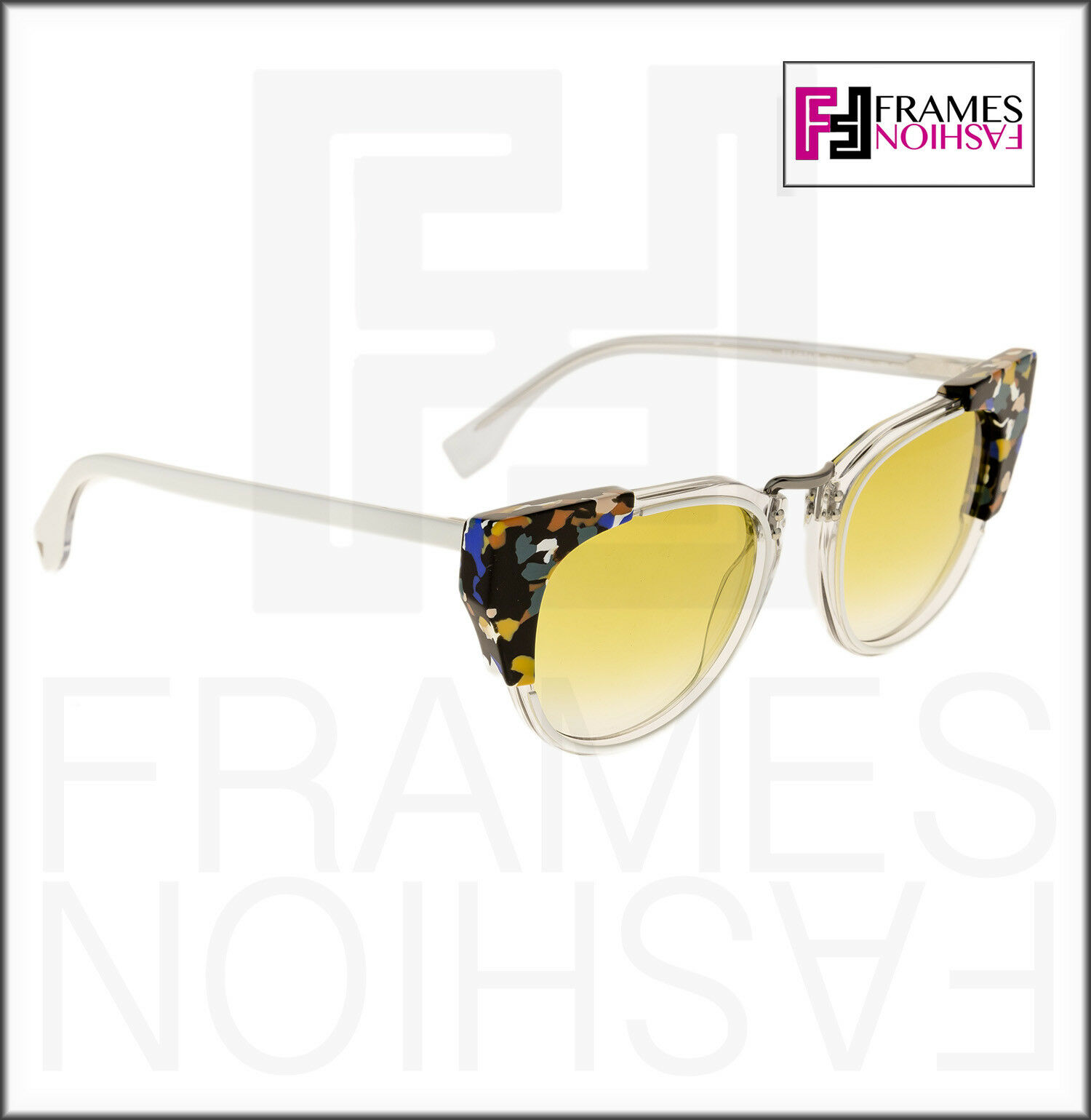 bad6d73a4de3 Fendi FF 0074 s Sunglasses RCKSV Transparent Crystal White Marbled Yellow  50 Mm for sale online
