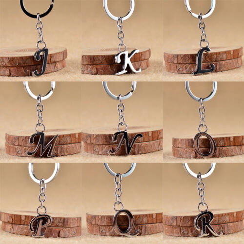 1PC Stainless Steel Key Ring English Letter Keychain Pendant Jewelry Decor