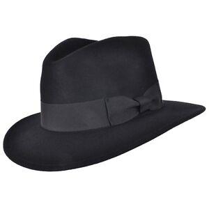 La imagen se está cargando Negro-Indiana-Ancho-Ala-Fedora-De-Fieltro- Sombrero- 524b080fddb
