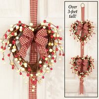 Country Double Rattan Heart-shaped Valentine's Day Door Wreath