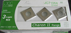 JCC-CARONTE-II-LED-VERDE-3-PIAZZA-Decking-DA-ESTERNO-LUCE-KIT-IP64-in-acciaio-inox