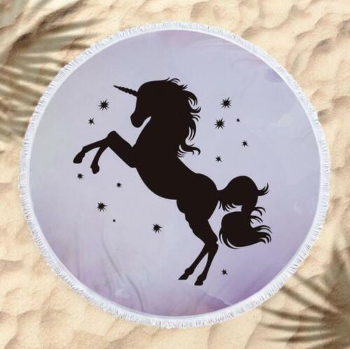 Details about  /3D Black Unicorn ZHU1089 Summer Plush Fleece Blanket Picnic Beach Towel Dry Zoe