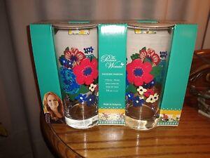 Pioneer-Woman-Dazzling-Dahlias-Glass-Tumblers-Set-of-4-16-ounces-NIB