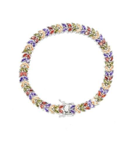 14k or Blanc Sur Argent Sterling Feuille Multi Couleur Arc-en-Tennis Bracelet